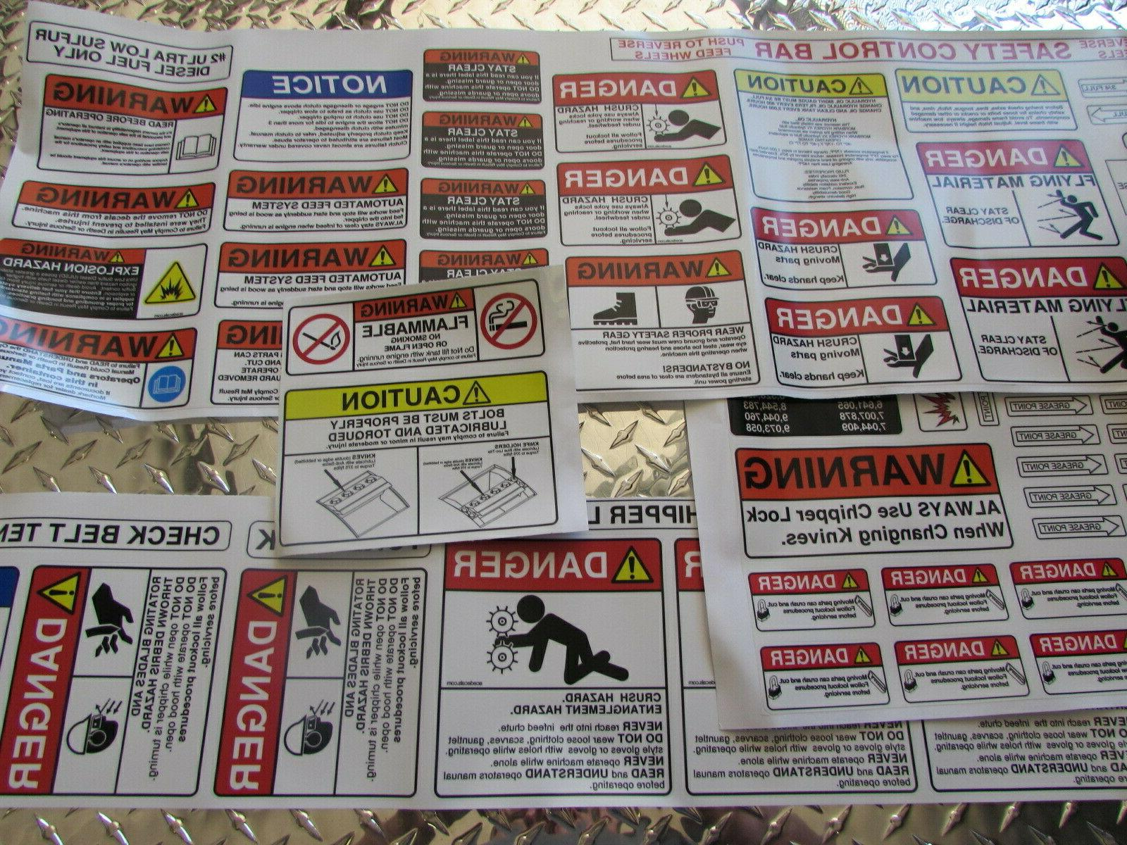 wood chipper safety decal kit for multiple